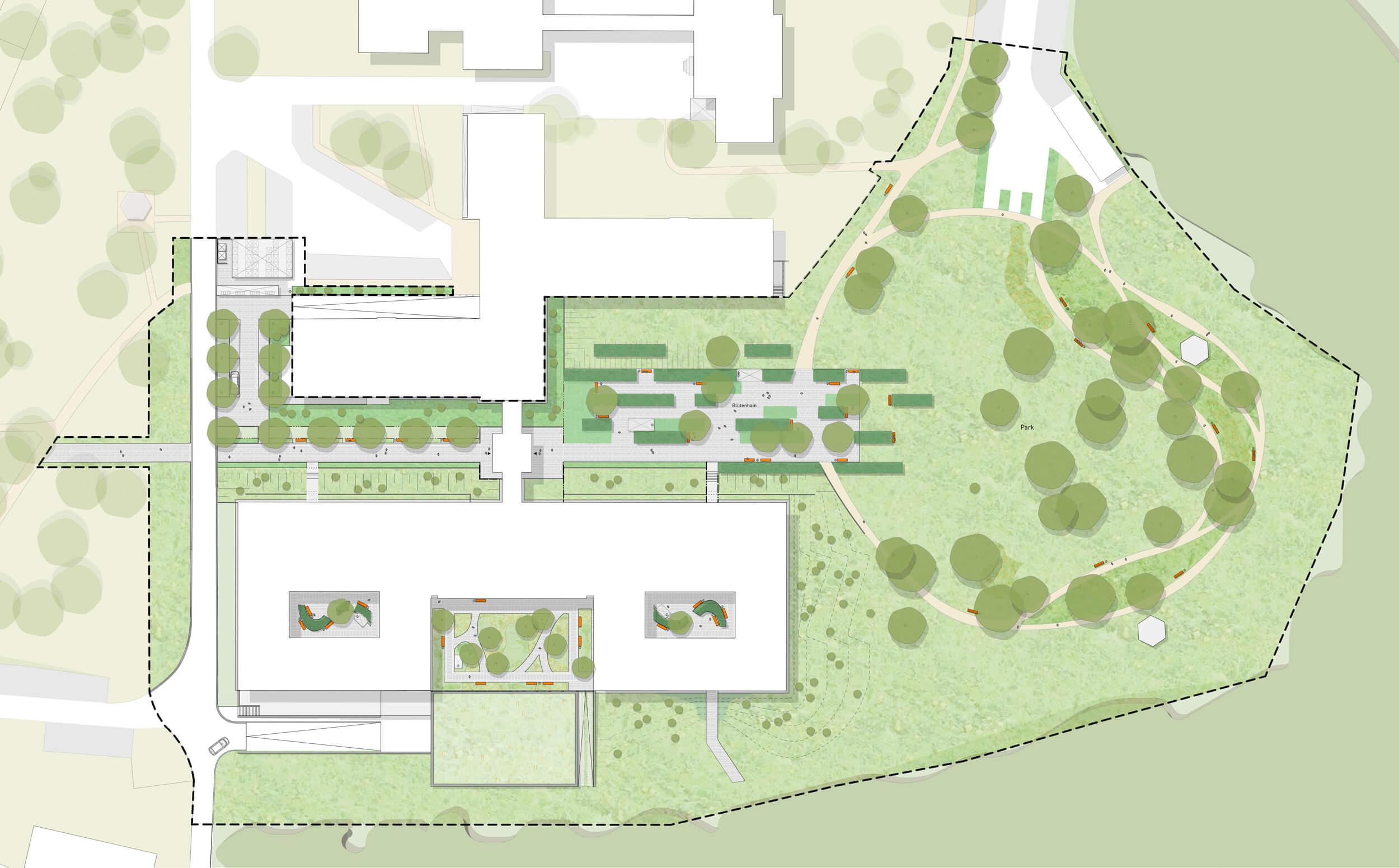 Entwurfsplan Freianlagen LVR-Klinik Langenfeld