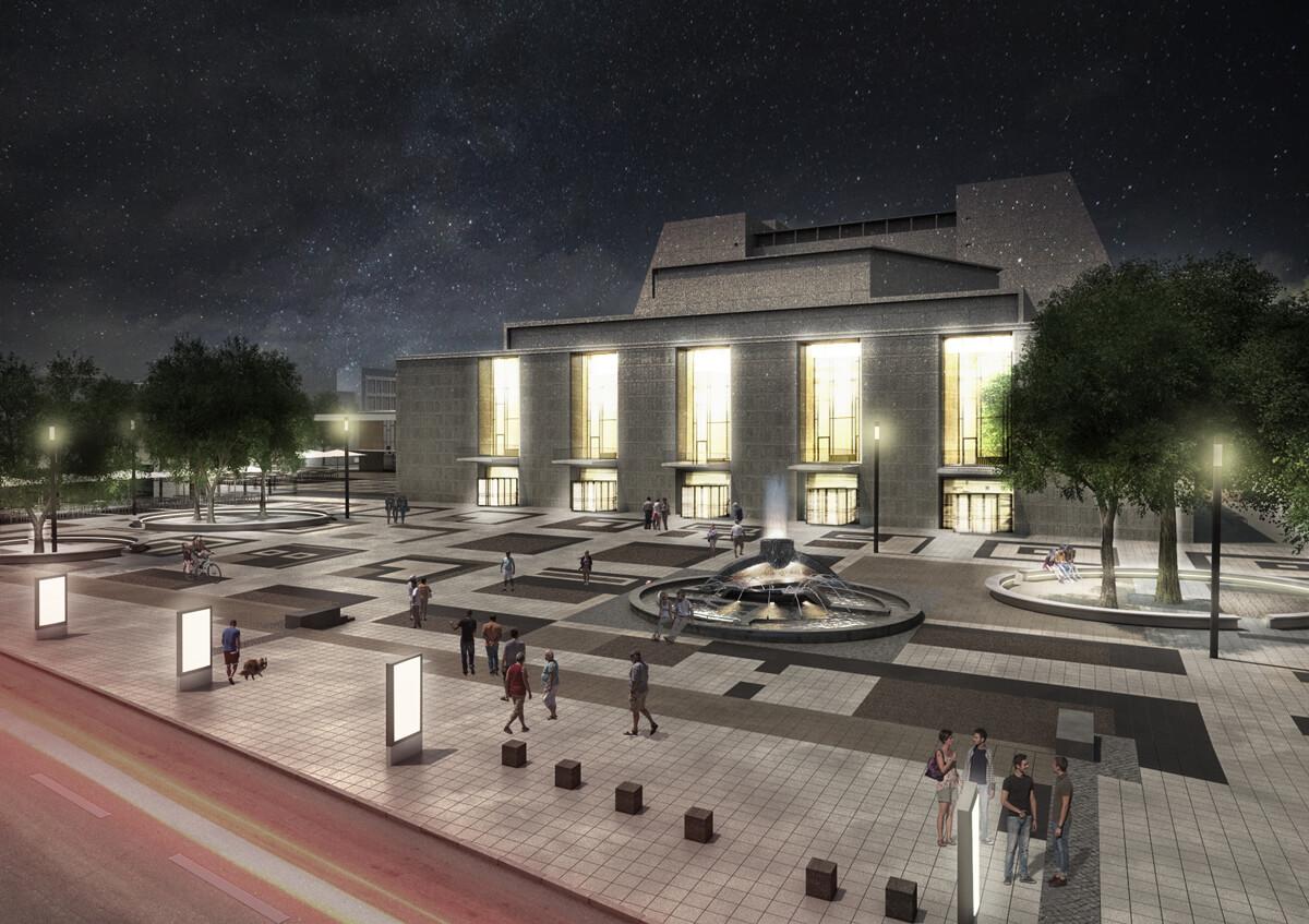 Moeblierung Offenbachplatz - Ansicht Grosser Offenbachplatz Nacht