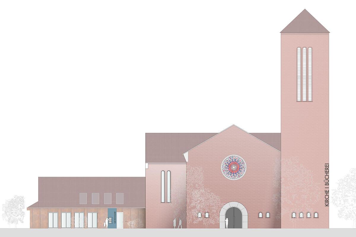 Ansicht Katholische Kirche und Pfarrheim St. Augustinus