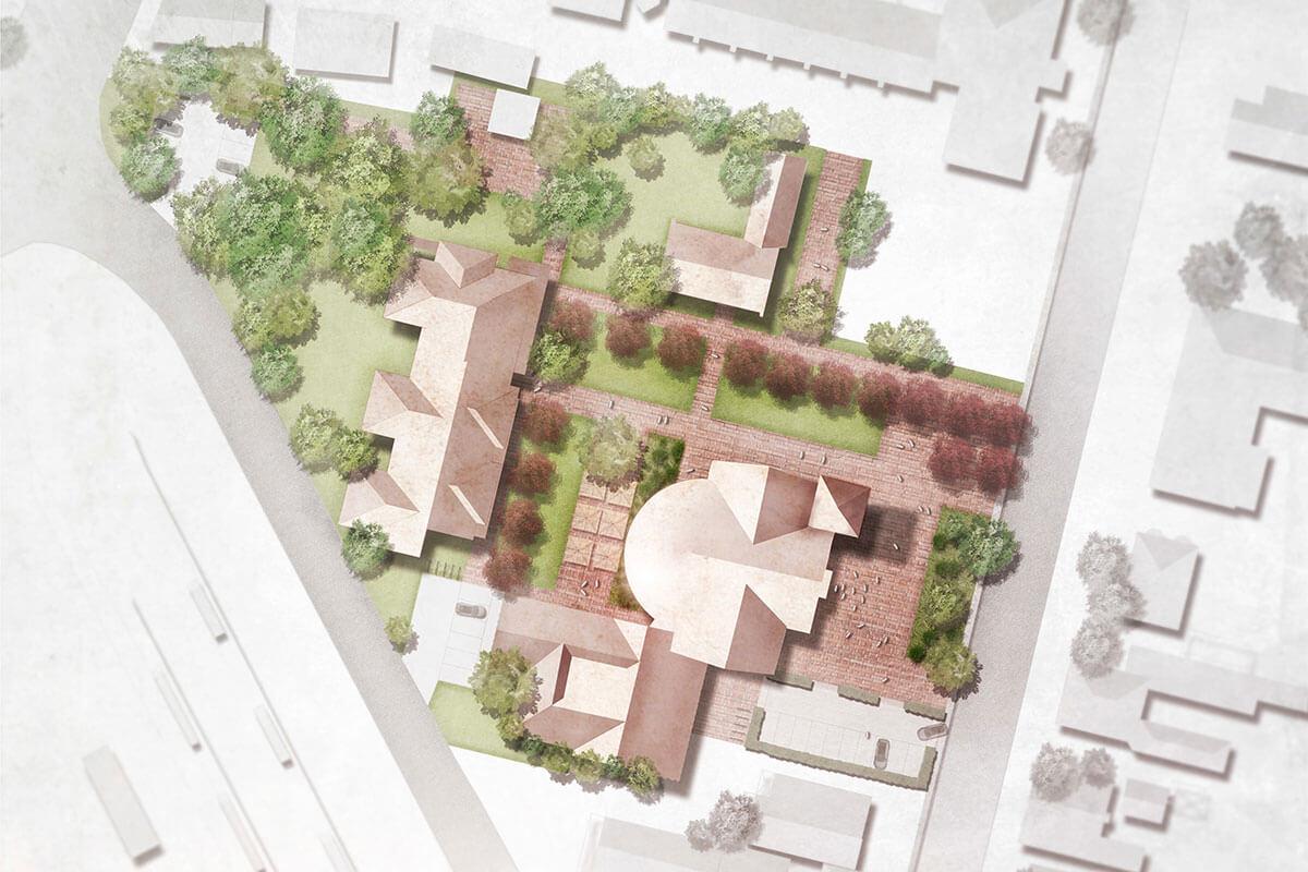 Lageplan Katholische Kirche und Pfarrheim St. Augustinus