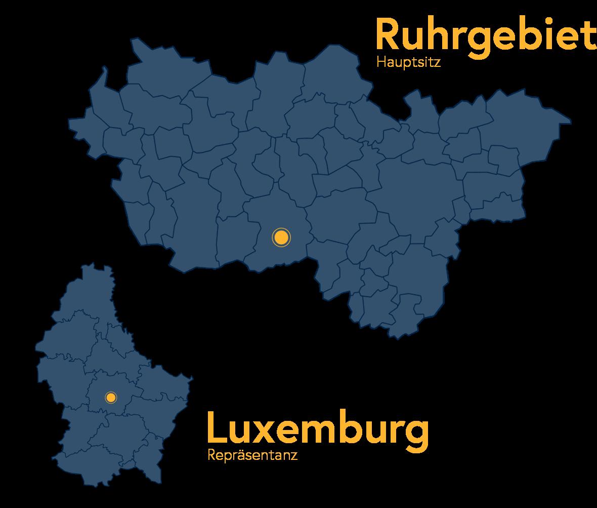 Standortkarte mit Hauptsitz im Ruhrgebiet und Repräsentanz in Luxemburg