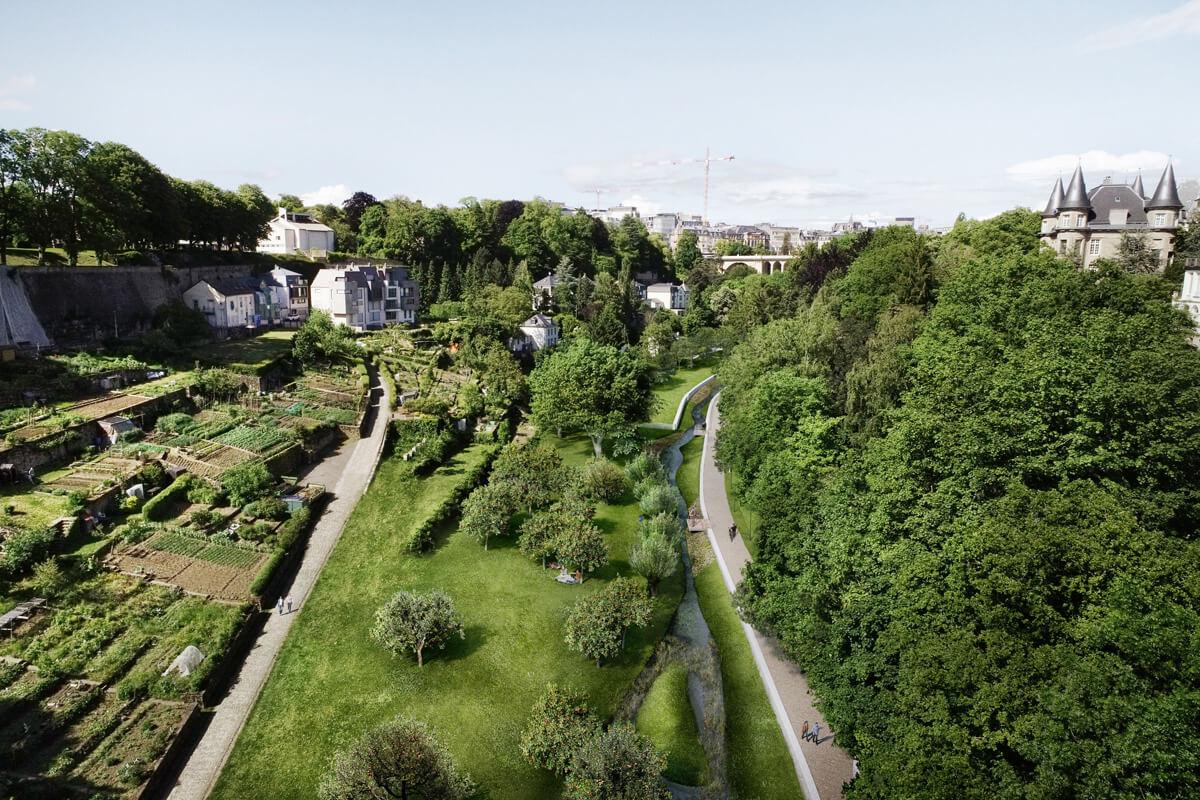 Vallée de la Pétrusse Perspektive Gartenlandschaft
