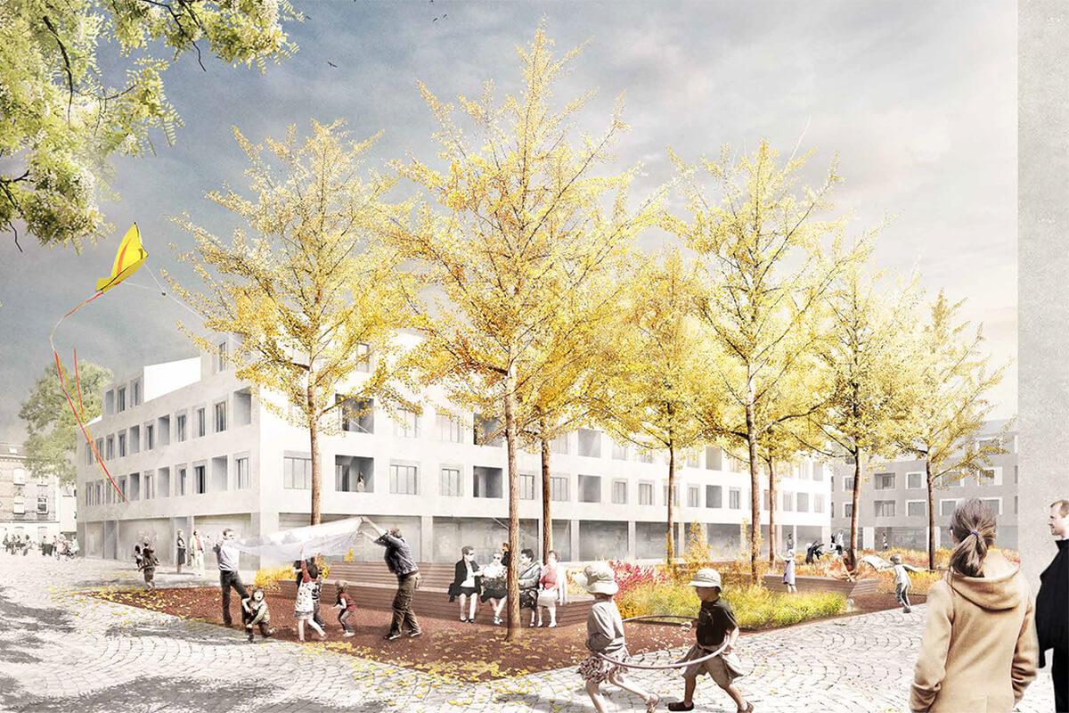 Außenanlagen Wohnebebauung Häuschenwegs Perspektive Wettbewerb