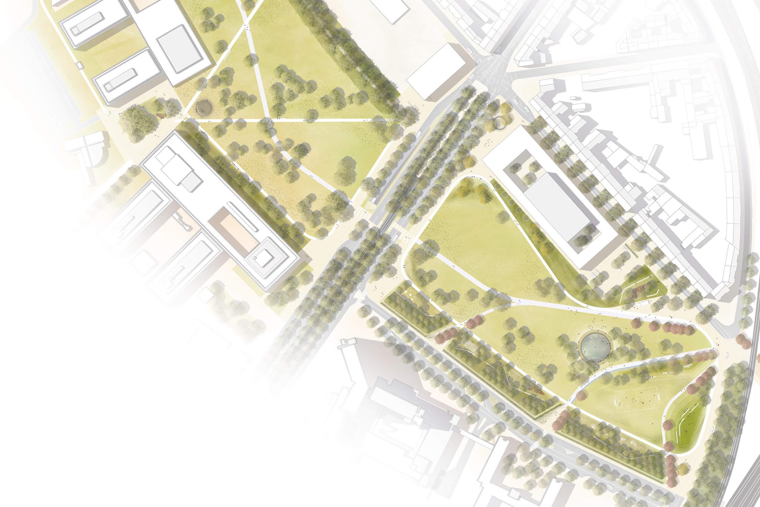 Lageplan Park am Eifelwall (Stand: Überarbeitung Wettbewerb)
